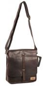 M93032 05 Brown Leather Designer Le Craf Leander Messenger Tablet iPad Bag