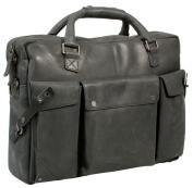 Uberbag Insignia Black / Graphite Grey Leather Portfolio Messenger Bag