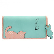 Lady PU Leather Cat Long Bifold Wallet Purse Business Card Money Photo Holder