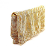 Ladies Ruched Gold Tone Austrian Crystal/Diamante Clutch Bag/ Cocktail/ Evening Bag