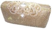 Unique Clasp Gold Diamante Crystal Diamond Evening bag Clutch Purse Party Bridal Prom
