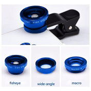 JaneDream 1PC Super Vision Camera Camera Set Fish Eye, Wide Angle, Macro Lens.For IPhone Phone Accessor Blue