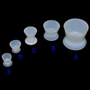 Carejoy Dental Lab Nonstick Silicone Mixing Bowl Cup 5 Pieces,Suction Cup Bottom