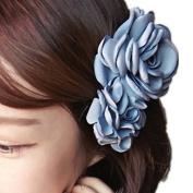 Cuhair(tm) 1pcs Large Two Light Blue Rose Design Hair Clip Barrette Hair Pin Accessories for Women Girl Baby