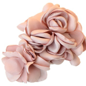 Cuhair(tm) 1pcs Large Two Pink Rose Design Hair Clip Barrette Hair Pin Accessories for Women Girl Baby
