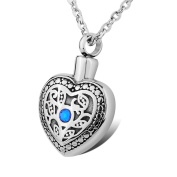 Cremation Stainless Steel Blue Crystal Heart Urn Necklace