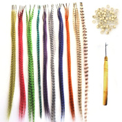 50 PCS Synthetic Grizzly Feather Hair Extensions With 100 Micro Link Beads + A Free Micro Loop Hook