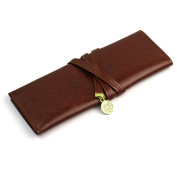 RHX Elegant Vintage Moon Synthetic Leather Pencil Cosmetic Case Pen Pouch Brown