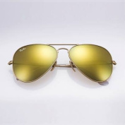 Ray-ban Original RB3025 112/93 Aviator Non-polarised Sunglasses, Matte Gold Frame/ Gold Mirror Lens,
