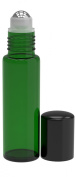 6 Pack - Empty Roll on Glass Bottles [STAINLESS STEEL ROLLER] 10ml Refillable Colour Roll On for Fragrance Essential Oil - Metal Chrome Roller Ball - 10 ml 1/3 oz - Green Colour