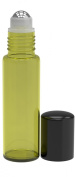 6 Pack - Empty Roll on Glass Bottles [STAINLESS STEEL ROLLER] 10ml Refillable Colour Roll On for Fragrance Essential Oil - Metal Chrome Roller Ball - 10 ml 1/3 oz - Yellow Colour