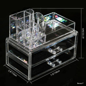 BerucciTM Clear Acrylic Jewellery Makeup Cosmetic Organiser Holder Storage - Two Piece Set with Two Bottom Drawers and Round Top Design