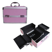 BerucciTM Professional Pink 25cm Lightweight Aluminium Makeup Artist Organiser Kit with 4 Extendable Trays, Aluminium Trimming, Lock and Keys, and Shoulder Strap