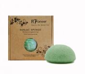 Flyoneer Konjac Sponge - Facilal Cleansing Sponge - Greentea Sponge - Keep Skin Flexible