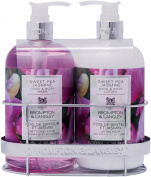 Upper Canada Soap Brompton and Langley Hand/Body Wash Lotion Caddy Gift Set, Sweet Pea Jasmine