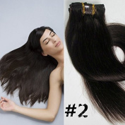 70cm Clips in Remy Human Hair Extension Attach Straight 2# Dark Brown 120g