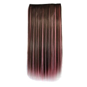 Stepupgirl 60cm Brown Mixed Pink Colour Dip Dye Straight Full Head Clip in Hair Extension with Souvenir Card