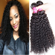 ALI JULIA 4 Bundles Brazilian Virgin Curly Hair Weave 7A Grade 100% Unprocessed Human Hair Weft Extensions Natural Colour 95-100g/pc Mixed Length