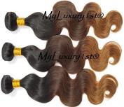 300g Ombre 41cm Remy Human Hair Weaving Extension Weft 1b Medium Brown Blonde 3 Bundles