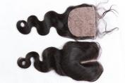 Freyja Hair Brazilian Virgin Hair Full Silk Base Closure 4x 4 Human Hair Closure With Baby Hair,Brazilian Body Wave Top Silk Base Lace Closures Part 20cm - 50cm Naturl Black Bleached Knots