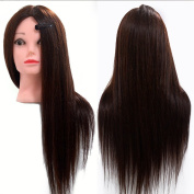 Neverland Professional 60cm 50% Real Human Hair Training Head With Free Clamp For College and Professional Use Dark Brown