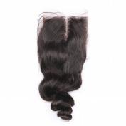 Angelbabyhair Brazilian Loose Wave Natural Black Bleached Knots Middle Part 10cm x 10cm Inch Lace Closure 46cm