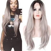 Hot Fashion 60cm Half Hand Tied Lace Front Heat Resistant Fibre Synthetic Hair Black Silky Straight Ombre Grey Wig Long for Black Women 60cm