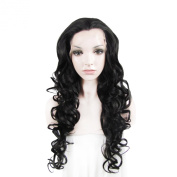 Lace Wig Long 70cm Wave Heat Resistant Synthetic Lace Front Wig Nature Black
