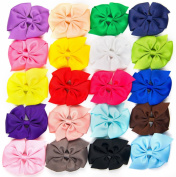 Bzybel Little Girls' Boutique Solid Grosgrain Ribbon Pinwheel Hair Bow Cheer Bows 7.6cm With Alligator Clips Pack Of 20