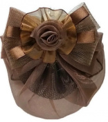 Women Brown Bow Hair French Clip Snood Net Bun Cover Barrette Bl002