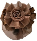 Women Brown Bow Hair French Clip Snood Net Bun Cover Barrette BL001