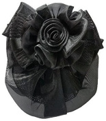 Women Black Flower Bow Hair French Clip Snood Net Bun Cover Barrette B002