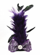 Halloween Mini Top Hat Fascinator Hair Clip Handmade - Purple and Black with Feathers