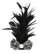 Halloween Mini Top Hat Fascinator Hair Clip Handmade - Black and Silver with Feathers