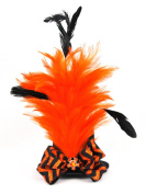 Halloween Mini Top Hat Fascinator Hair Clip Handmade - Orange and Black with Feathers