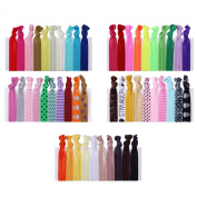 hiLISS HA061006-5 50pcs Hair Bands Ponytail Holders with Free Gift of 20pcs 6.1cm Black Flat Hair Bobby Pins