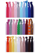 hiLISS 30pcs Hair Bands Ponytail Holders with Free Gift of 20pcs 6.1cm Black Flat Hair Bobby Pins