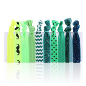 hiLISS HA061006-8 10pcs Hair Ties Ponytail Holders with a Free Gift Green Headband
