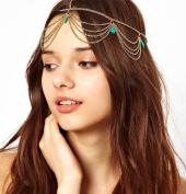 Goddess Green Stone Hanging Chain Headband Accessory