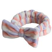 Sweet Soft Carol Fleece Bow Wash Makeup Cosmetic Shower Elastic Hair Headband for Girl