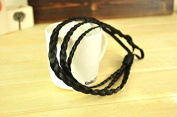 AUCH 3Pcs Big Size Synthetic Hair Plait/Braided Headband/Band Elastic, Black