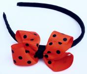 Black Halloween Headband Hair Accessory for Girls - Orange Bow With Black Polka Dots