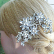 Sindary Wedding Hair Comb 10cm Silver-tone Rhinestone Crystal Flower Hair Comb Wedding Headpiece