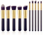 Premium Synthetic Kabuki Makeup Brush Set Cosmetics Foundation Blending Blush Eyeliner Face Powder Brush Makeup Brush Kit 10pcs Golden Black