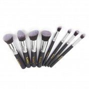 iLoveCos Professional Cosmetic Brush Set for Liquid or Powder Foundation 8 PCS Silver Black