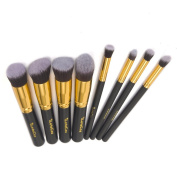 iLoveCos Professional Cosmetic Brush Set for Liquid or Powder Foundation 8 PCS Gold Black