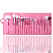 New 22/24 Pcs Professional Makeup Brush Sets Make Up Tools Kit Bag Case Pink
