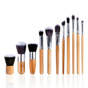 StarHealth 11Pcs Makeup Brush Set Powder Foundation Blusher Cosmetic Bamboo Handle with a Bag