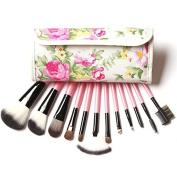 Honey cosmetics Professional 12Pcs Face Makeup Brush Set with flower bag