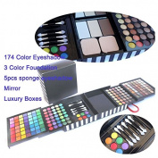 Kolight® Profession 6 Layer Sliding Design 177 Colour Cosmetic Makeup Sets -174 Colour Eyeshadow 3 Colour Foundation 5pcs Sponge Eyeshadow